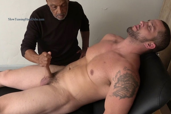 Masculine straight boxer, muscle hunk Angelo gets tied up naked, slowly teased and wanked by master Chic in Edged with a Pocket Pussy at Slowteasinghandjobs