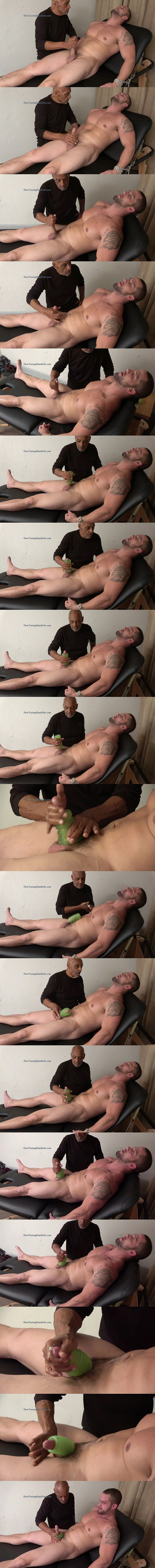 Masculine straight boxer, muscle hunk Angelo gets tied up naked, slowly teased and wanked by master Chic in Edged with a Pocket Pussy at Slowteasinghandjobs 02