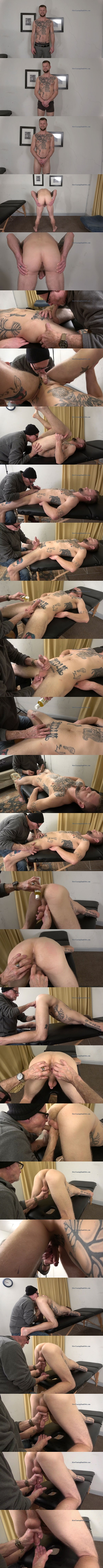 Inked straight dude Keith gets stripped naked, stroked, fingered, sucked and jerked off by master Gary in Milked Like a Cow at Slowteasinghandjobs 01
