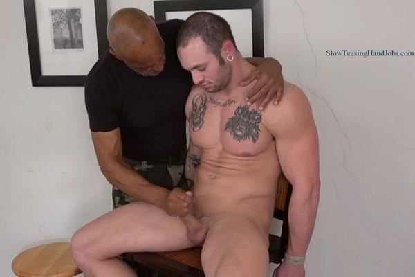 Hot newcomer, muscular bi-sexual fork lift operator Paul gets slowly stroked, edged and sucked off by master Chic at Slowteasinghandjobs