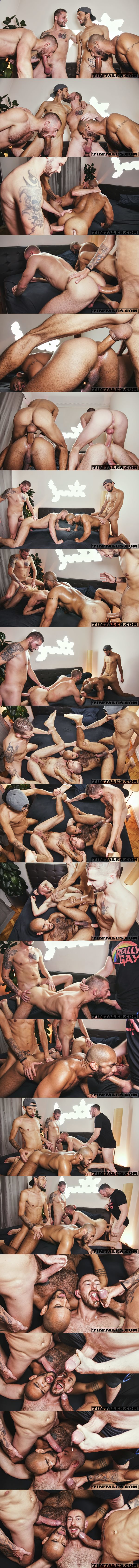 Hung power tops Franklin Acevedo, Ethan Metz and Tim Kruger bareback John Thomas and Louis Ricaute until they give two bottom hot facials at Timtales 02