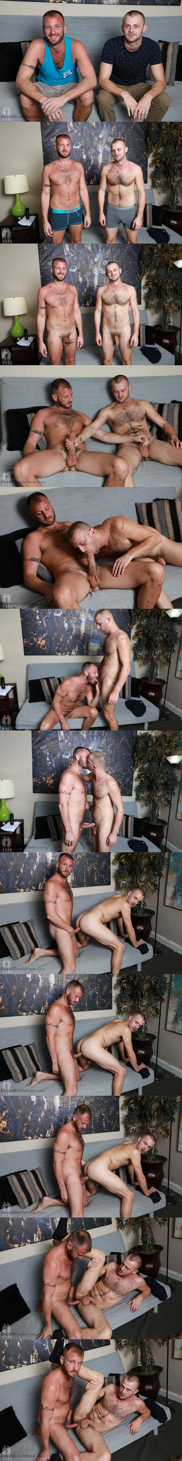 Hung, masculine daddy Chase Ryder barebacks veteran gay porn star Chandler Scott before they shoot their hot loads at Baitbuddies