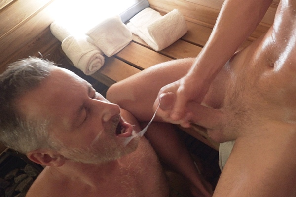 Silver fox Mr. Houser (aka Patriarch Smith) and cute twink Cole Blue suck and stroke each other until Cole gives Houser a hot facial in Boy's First Time: Tape #3 Mr. Houser and His Boy Cole: Sauna Play at Gaycest