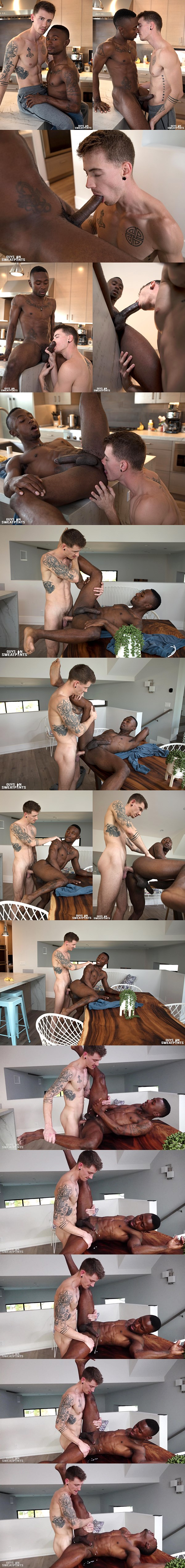 Lean fit inked dude Dante Foxx barebacks hung black jock Miller Axton unti Miller has an anal orgasm in an interracial scene at Guysinsweatpants 02