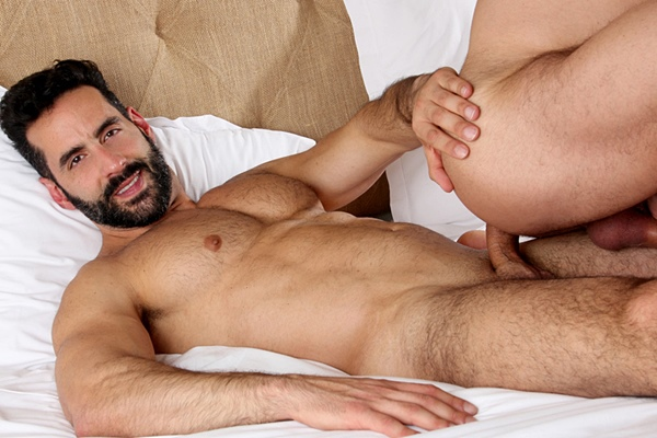 Hot newcomer, sexy Brazilian beefcake Massimo Arad barebacks muscle daddy Mario Roma before he fucks the cum out of Mario in Casting Couch #425 at Kristenbjorn