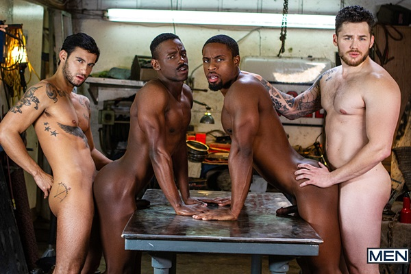 Matthew Camp barebacks Ricky Roman, DeAngelo Jackson and River Wilson in an interracial foursome in Tom Of Finland: Service Station at Men