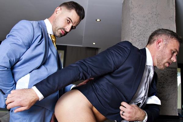 Hot newcomer, sexy Spanish stud Andre Bugatti barebacks veteran gay porn star Alex Mecum before he fucks the cum out of Alex at Menatplay