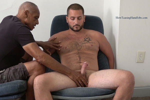 Straight, muscular beefcake Alan gets slowly stroked and edged by master Chic in Edged to a Hands Free Cum Shot at Slowteasinghandjobs