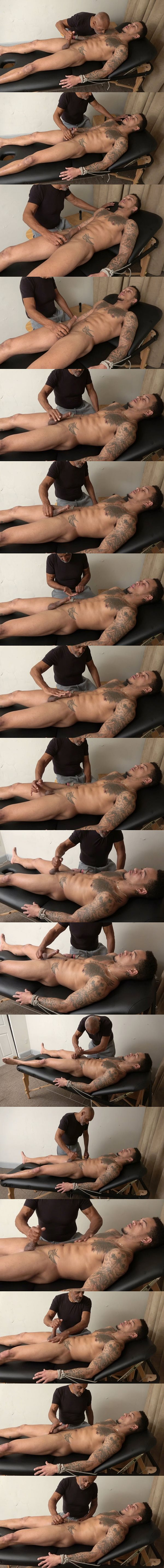 Fit black straight muscle hunk Dream gets slowly stroked and edged by master Chic until Dream gets wanked off at Slowteasinghandjobs