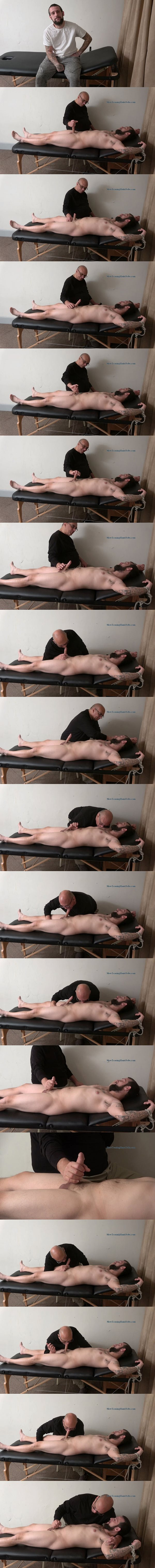 Bearded straight daddy Randy gets slowly stroked, edged and sucked by master Rich until Rich milks two loads out of Randy's hard cock at Slowteasinghandjobs