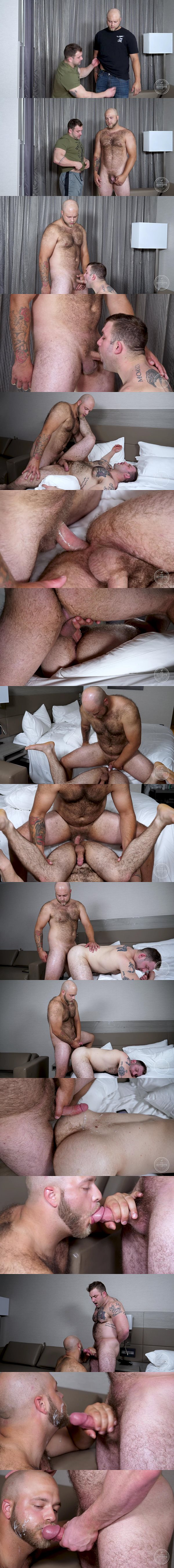 Bald fuzzy straight muscle bear Jacob fucks sexy beefcake Jack's muscle ass before Jack nuts on Jacob's ass at Theguysite
