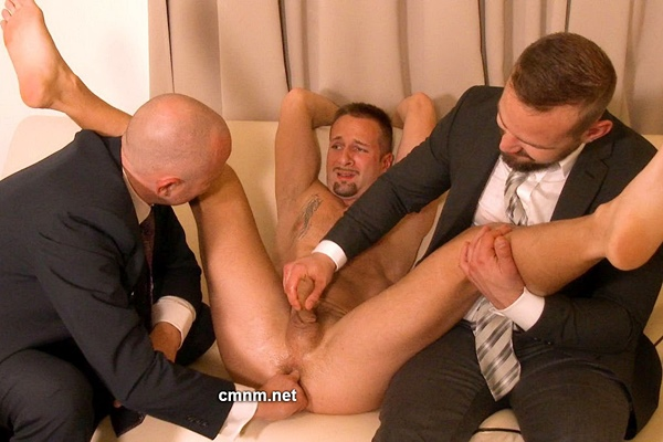Handsome straight hunk Alan gets stripped down, fondled, humiliated, finger fucked and jerked off by pervy masters Dave and Patrick Barak in Alan's Demise at Cmnm