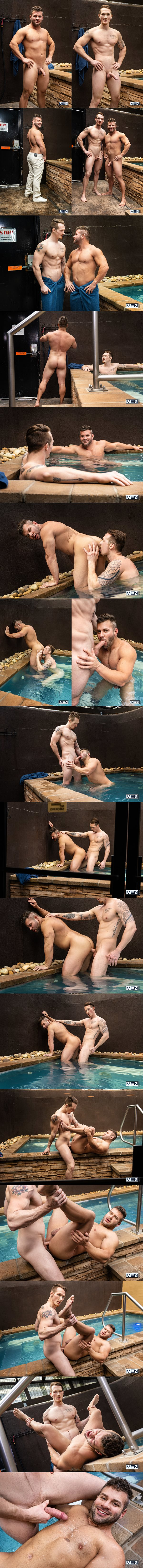 Lean fit porn star Jackson Cooper barebacks muscular newcomer Mason Max's bubble ass by the tub before they shoot their loads in Mason's bottoming debut at Men 01