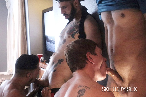 Brian Adams, Cesar Xes and Romeo Davis gangbang bareback and breed blond cum slut Kyle Connors in Ginger Welcum Wagon at Sketchysex