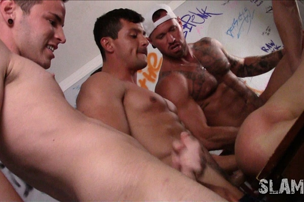 Aiden Ward, Broc, Damien Stone, Grayson Lange, Jeremy Spreadums, Josh, Kyle, Kyler, Michael Roman and Sebastian gangbang bareback and creampie Alex Chandler in Need To Breed at Slamrush