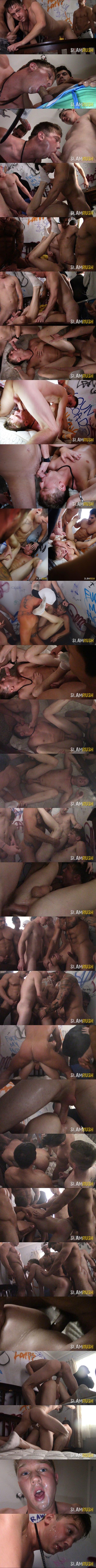 Aiden Ward, Alex Chandler, Broc, Damien Stone, Grayson Lange, Jeremy Spreadums, Kyle, Kyler, Michael Roman and Sebastian gangbang breed Josh in Shot Gunned at Slamrush 01