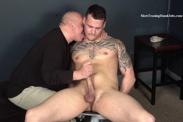 Hot newcomer, straight muscle hunk Stevo gets slowly teased, stroked and edged by master Rich until Rich jerks a big load out of Stevo's hard boner at Slowteasinghandjobs