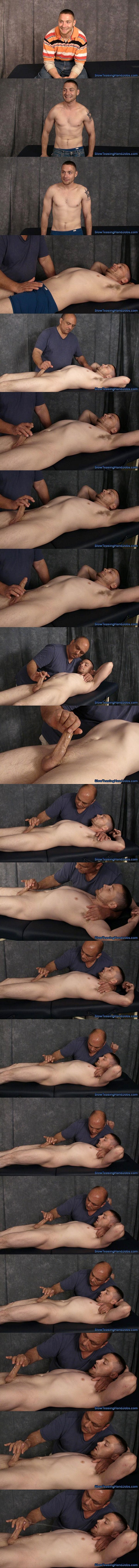 Hot straight muscle jock Kevin gets slowly stroked and edged by master Rich until he gets jerked off in Unemployed Painter Kevin Edged at Slowteasinghandjobs 01