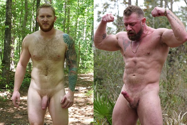 Red beard inked muscle hunk Alec Brockton and masculine straight daddy Viking Strong have a naked run in the woods before they jerk off at Theguysite