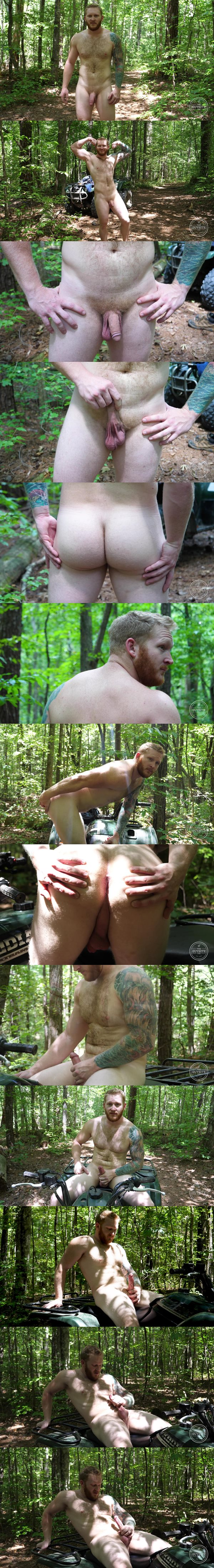 Red beard tattooed straight muscle hunk Alec Brockton has a naked run before he wanks off in the woods at Theguysite