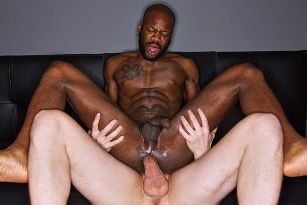 Horse hung power top Tim Kruger barebacks ripped stud Bishop Black (aka Pierre Remy) before he fucks the cum out of Bishop in an interracial scene at Timtales