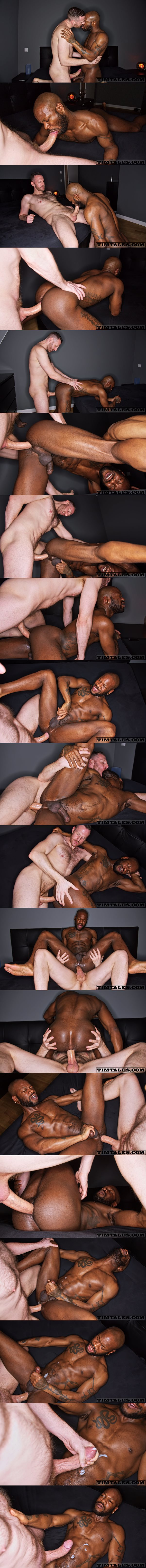 Horse hung power top Tim Kruger barebacks ripped stud Bishop Black (aka Pierre Remy) before he fucks the cum out of Bishop in an interracial scene at Timtales 02