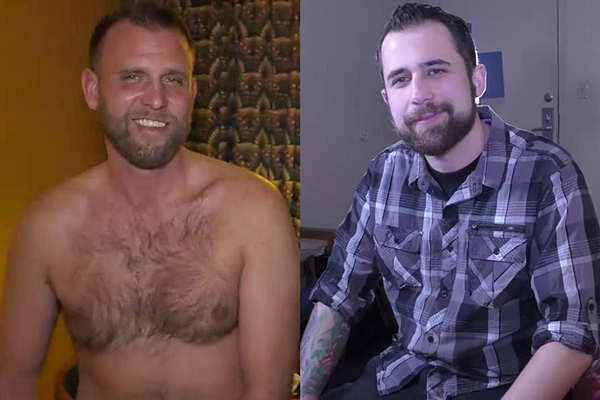 Hairy chested ex-marine Michael Zephyr and bearded straight dude Rocky Willis reveal their tight virgin holes and jerk off at Fredsugar