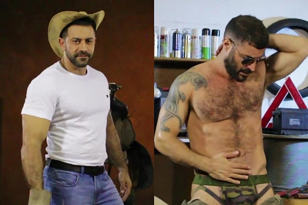 Masculine straight cowboy Leo and rugged hairy mechanic Bruno work out and pose their fit naked bodies before they jerk off at Muscledom