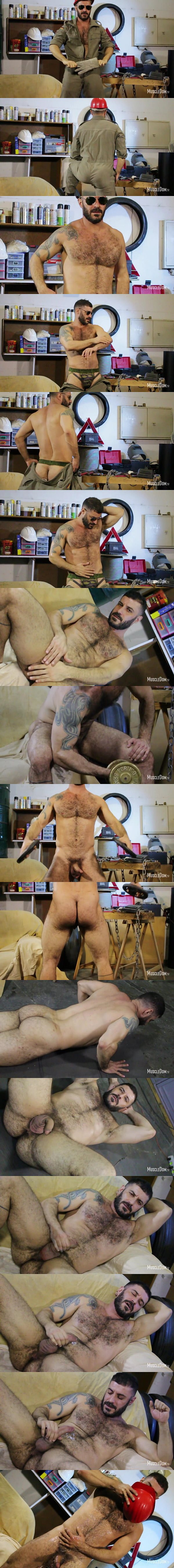 Rugged handsome straight mechanic Bruno shows his sexy hairy naked body before he strokes a sticky load out of his hard cock at Muscledom