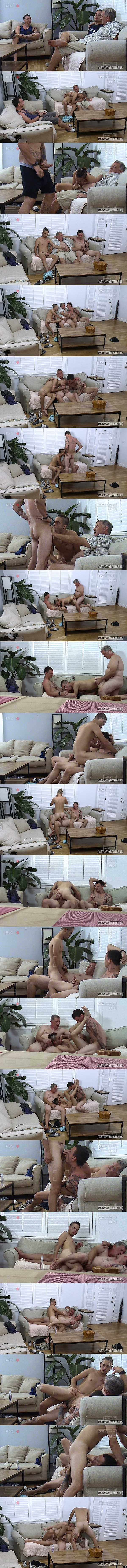Daddy Clay barebacks straight lad Mark Santana and Silas before he creampies Silas in an older younger threeway in Toys Are Meant To Be Played With at Raunchybastards 01