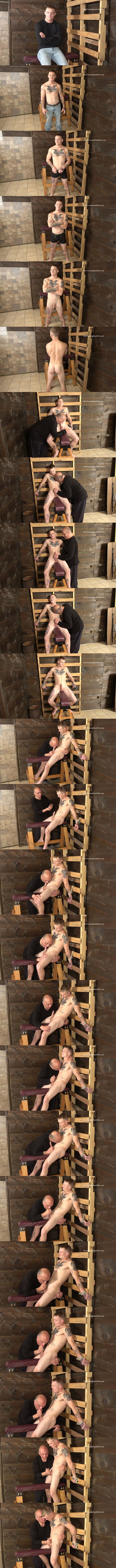 Hot newcomer, married iron worker Buddy Meyers gets tied to a rack and slowly edged by master Rich until Rich jerks the cum out of Buddy's hard boner at Slowteasinghandjobs 01