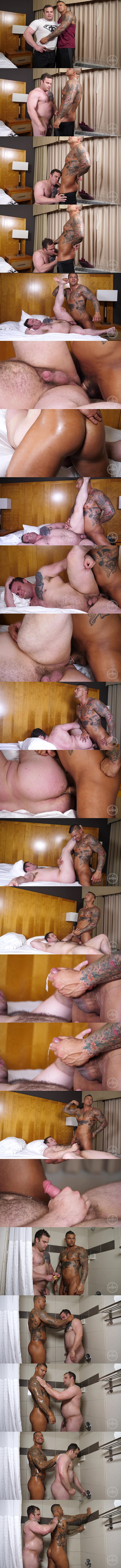 Masculine straight beefcake, inked muscle hunk Bane Diesel fucks porn star Daxx Carter's bubble ass before they shoot their creamy loads at Theguysite 01