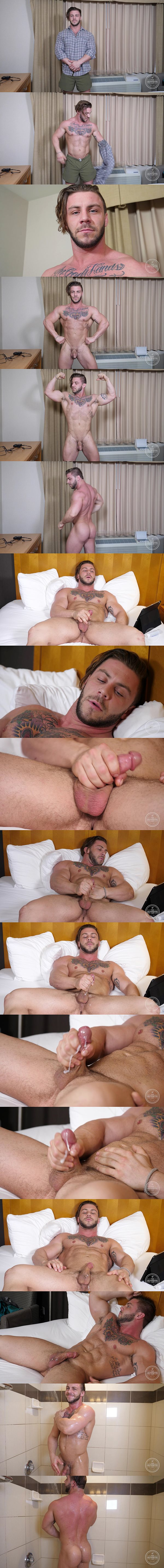Bisexual ripped stud Seth poses his naked muscle body before he milks a sticky load out of his hard cock in Beautiful Man Ass at Theguysite