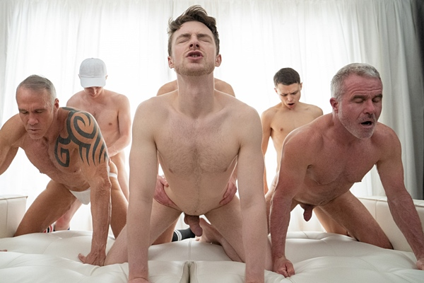 Lukas Stone, Felix Maze and Austin Young bareback and creampie Cole Blue, Dale Savage and Dallas Steele in an older younger orgy in Felix's Team Play All Play at Twinktop