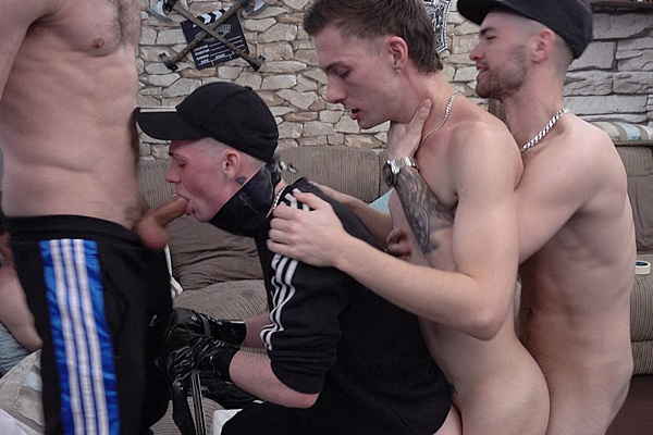 Josh, Mickey, Mike and Hung Young Brit gangbang bareback and breed cute British lad Reece during Lockdown in Easter Live Sex Show at Hungyoungbrit
