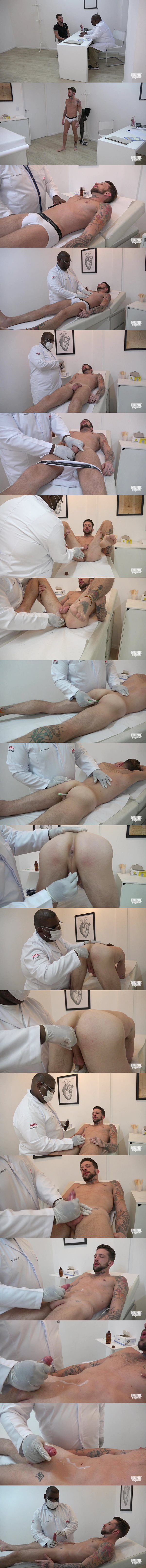 A macho amateur inked straight latino get his naked body examined and tight virgin ass fingered before he gets jerked off in 382 at Hunkphysical