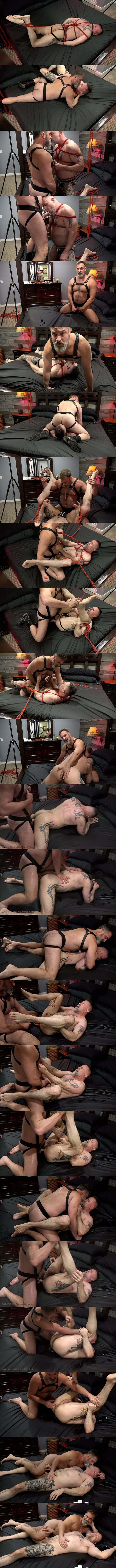 Masculine daddy Kristofer Weston barebacks muscle bear Liam Angell before he creampies Liam in Bound Down In Pound Town at Musclebearporn 01