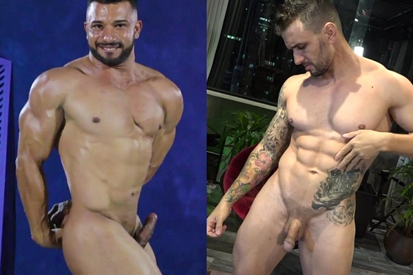 Sexy Brazilian bodybuilder Diego and masculine ripped straight beefcake Craig pose their muscular bodies and work out naked before they jerk off at Muscledom