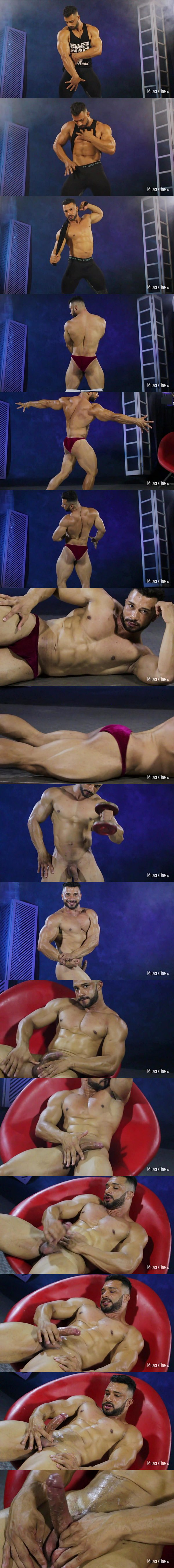 Sexy Brazilian bodybuilder Diego shows off his chiseled body and works out naked before he milks a sticky load out of his hard cock at Muscledom