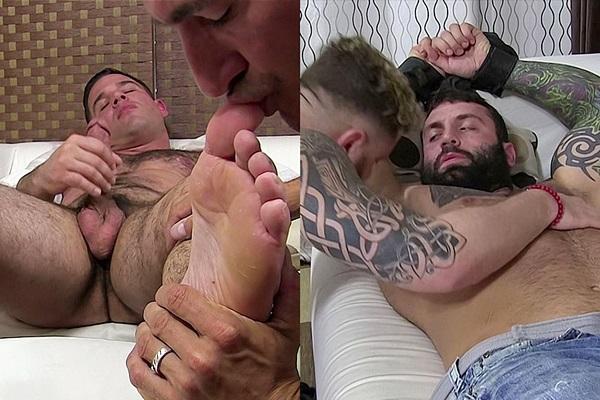 Johnny Hazzard and Riley Mitchel worships handsome gay porn star Derek Atlas and MMA fighter Markus Kage until they cum at Myfriendsfeet