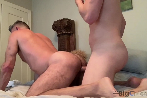 Cory (aka Big C) and his long-time masculine fuck buddy take turns barebacking each other before Cory creampies his friend at Thebigcmen