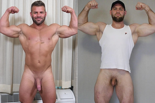 Hot beefcake Danny (aka Mason Max) and tall masculine Russian straight hunk pose their naked muscular bodies before they jerk off at Theguysite