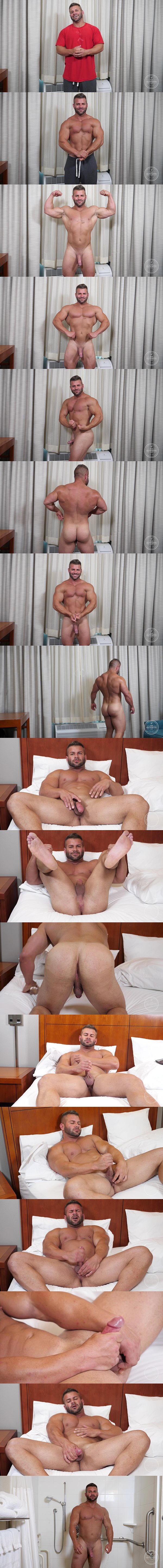 Hot macho beefcake Danny (aka Mason Max) shows off naked muscular body before he jerks off in Big Ass Muscle Man at Theguysite