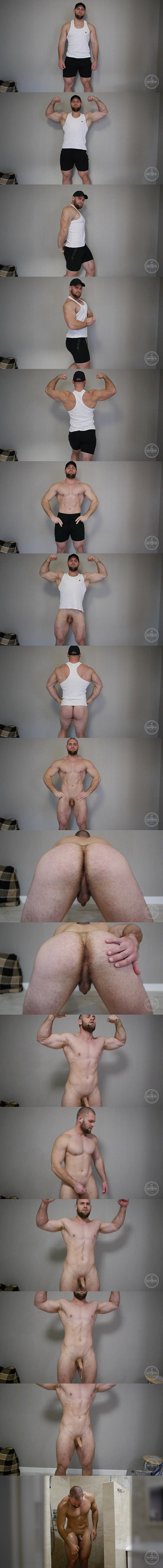 Tall masculine newcomer, Russian beefcake Nicolai poses his naked muscular body before he has a hands free orgasm in Big Naked Man From Russia at Theguysite