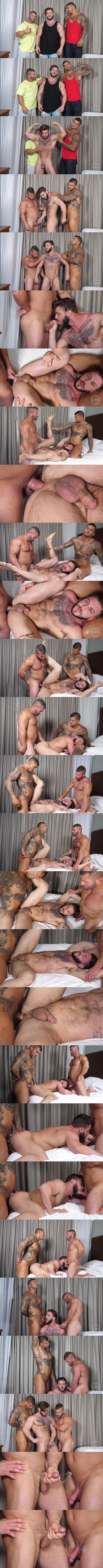 Hot muscle stud Danny (aka Mason Max) and straight hunk Bane Diesel take turns fucking inked beefcake Seth's tight virgin ass in Popping Seth's Cherry at Theguysite 01