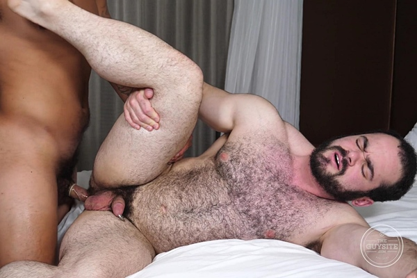 Masculine straight beefcake Tony Romero fucks sexy hairy newcomer, bear cub Steve before they shoot their creamy loads in Steve's bottoming debut at Theguysite