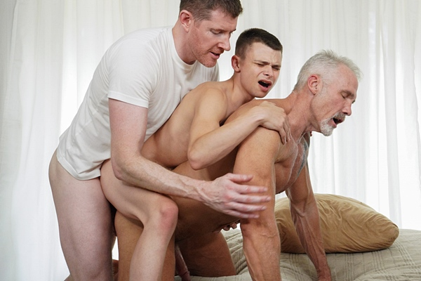 LeGrand Wolf barebacks and Austin Young and Dallas Steele before Austin fucks the cum out of Dallas and creampies him in Top Tryout at Twinktop