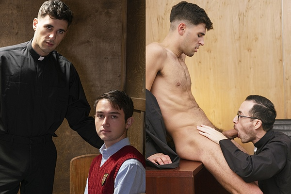 Mason Anderson and Father Fiore bareback cute priest Father Gallo before they breed Gallo in Gallo's bottoming debut at Yesfather