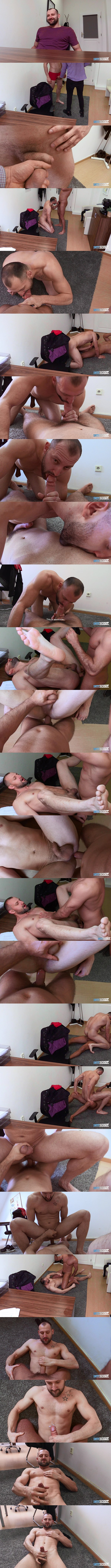 Tall, masculine straight muscle hunk Pavel Sora gets his tight virgin ass popped raw in a POV scene in his bottoming debut in Dirty Scout 233 at Bigstr 01