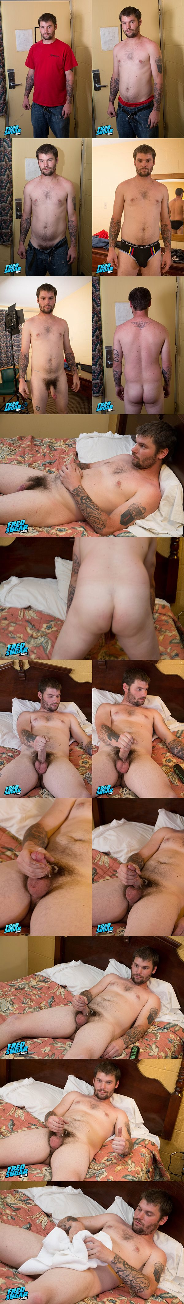 Rugged straight dude Brooks Thor strips down and jerks off for the first time on camera at Fredsugar